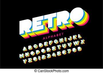 coloridos, 80s, estilo, alfabeto, fonte, retro