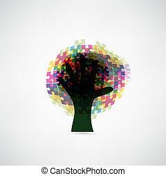 coloridos, abstratos, árvore, quebra-cabeça, fundo