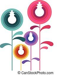 coloridos, abstratos, -, 2, folheia, flores