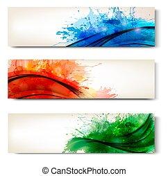 coloridos, abstratos, cobrança, aquarela, banners., vetorial