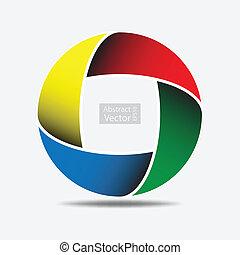 coloridos, abstratos, curva, círculo, eps10., fundo