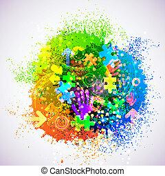 coloridos, abstratos, eps10., ilustração, criativo, experiência., vetorial