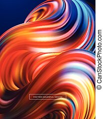 coloridos, abstratos, fluido, ilustração, vetorial, design., 3d