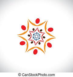 coloridos, abstratos, ilustração, de, pessoas, conectado,...