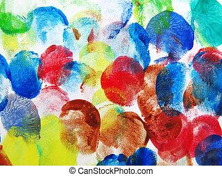 coloridos, abstratos, impressão digital, fundo