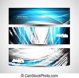 coloridos, abstratos, onda, cabeçalho, luminoso, vetorial