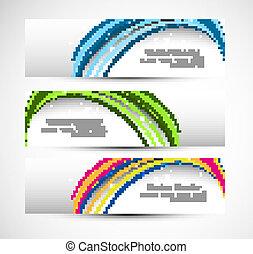 coloridos, abstratos, onda, cabeçalho, vetorial, linha, tecnologia