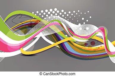 coloridos, abstratos, onda, fundo