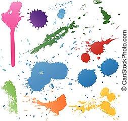 coloridos, abstratos, vetorial, tinta, pintura, splats