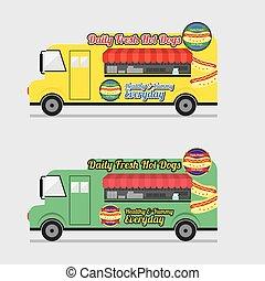 coloridos, alimento, ilustração, vetorial, caminhão, vista lateral