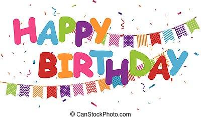 coloridos, aniversário, desenho, confetti, feliz, celebração