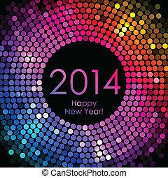 coloridos, ano, -, novo, 2014, feliz