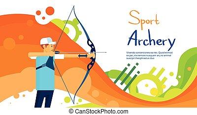 coloridos, atleta, competição, arqueiro, desporto, bandeira