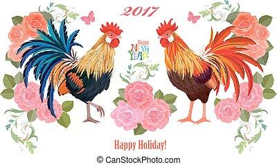 coloridos, bandeira, dois, flowers., novo, encantador, cockerels, feliz