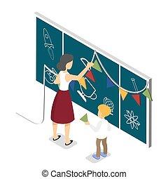 coloridos, bandeiras, decorar, criança, professor, chalkboard