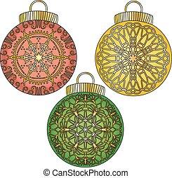 coloridos, bauble, ornamentos