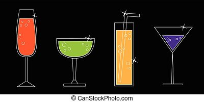 coloridos, bebidas