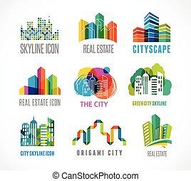 coloridos, bens imóveis, cidade, e, skyline, ícones