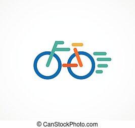 coloridos, bicicleta, ícone, e, símbolo