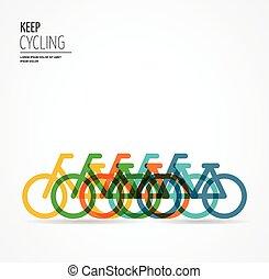 coloridos, bicicleta, cartaz