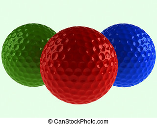 coloridos, bolas golfe