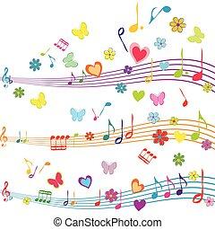 coloridos, borboletas, aduela, desenho, corações, música, flores