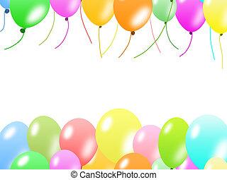 coloridos, borda, balões