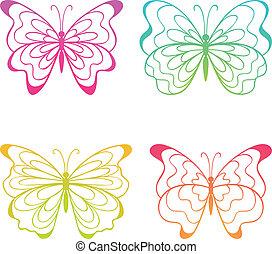 coloridos, butterflies.