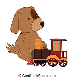 coloridos, cão, com, trem, brinquedo