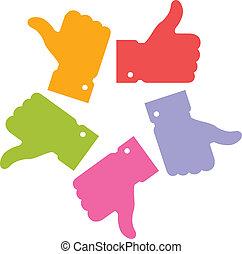coloridos, círculo, polegar cima, ícones