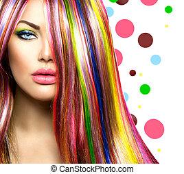 coloridos, cabelo, e, makeup., beleza, modelo moda, menina