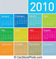 coloridos, calendário, para, 2010.