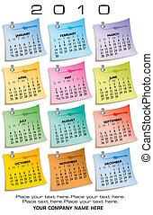 coloridos, calendário, para, 2010