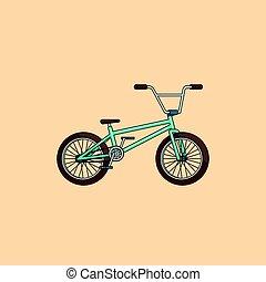 coloridos, caricatura, bicicleta, conceito