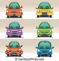 coloridos, caricatura, carros, vista dianteira
