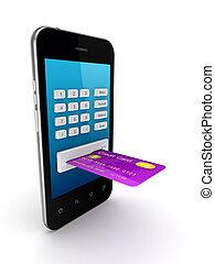 coloridos, cartão crédito, conectado, para, móvel, telefone.