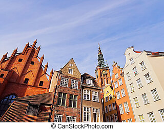 coloridos, casas, de, gdansk, polônia