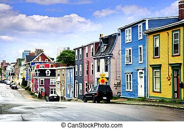 coloridos, casas, em, st., john\'s