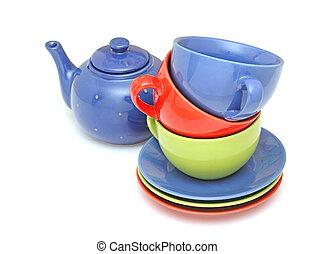 coloridos, chá, copos, com, bule, isolado, branco