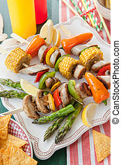 coloridos, churrasco, skewers