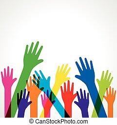 coloridos, cima, fundo, mão