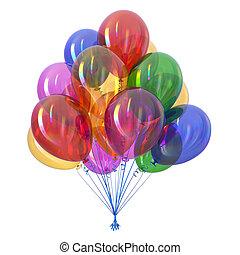 coloridos, clássicas, hélio, multicolored, lustroso, balões, grupo