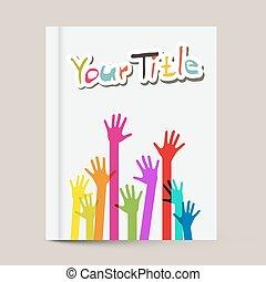 coloridos, cobertura, livro, desenho, modelo, mãos, folheto, ou