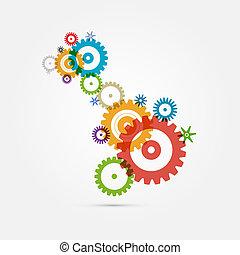 coloridos, cogs, abstratos, -, engrenagens, fundo, branca