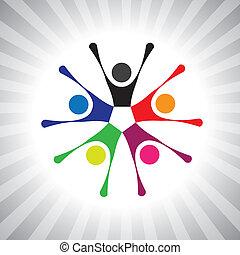 coloridos, comunidade, camaradas, também, tocando, divertimento, vibrante, simples, friendship-, tendo, vetorial, crianças, celebrando, graphic., lata, reunião, excitado, crianças, ilustração, pessoas, represente, este