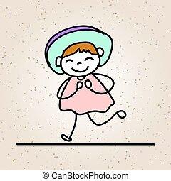 coloridos, conceito, alegria, personagem, mão, menina, sorrizo, caricatura, feliz, desenho, felicidade, criança