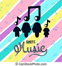 coloridos, conceito, música, família, nota, musical