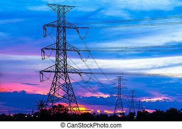 coloridos, contra, pilares, pôr do sol, electricidade