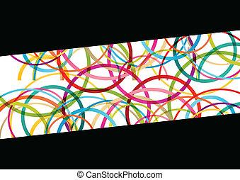 coloridos, cor, abstratos, linhas, ilustração, redondo, vetorial, fundo, ondas, círculo, elipse, mosaico