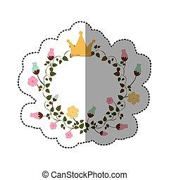 coloridos, coroa, adesivo, ornamento, rastejadores, flores